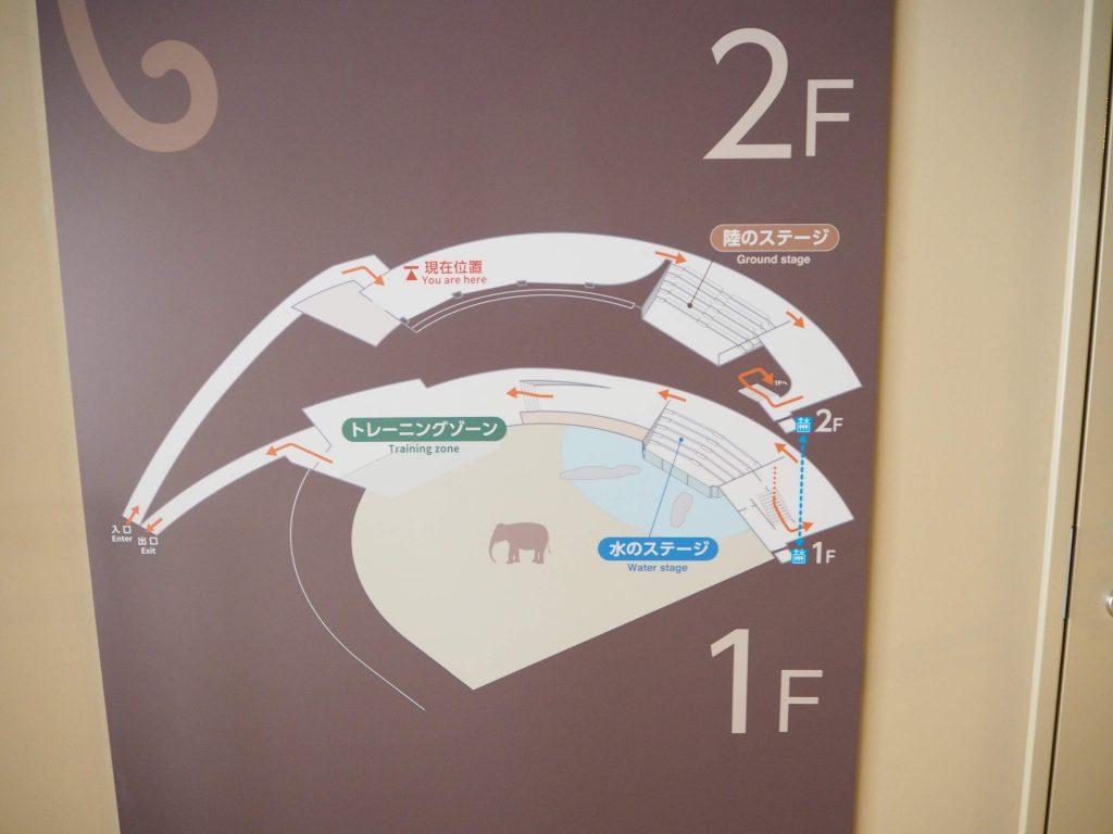 円山動物園のゾウ舎の見取り図