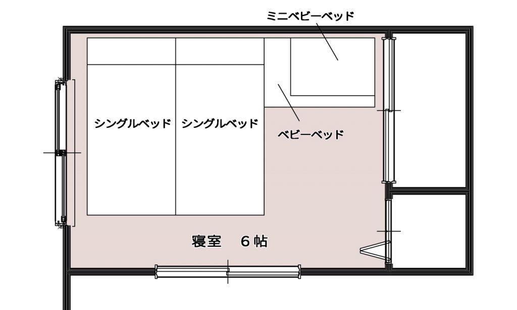 ベビーベッドをシングルベッド2台と寝室に置く